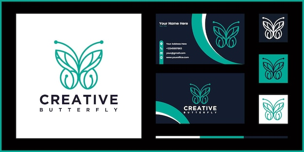 Creative butterfly logo vector line outline