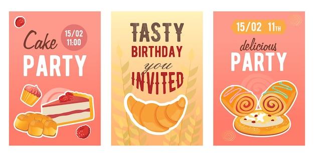 Disegni creativi dell'invito di festa della torta con cibo farinaceo. inviti alla festa di compleanno alla moda con torte dolci.