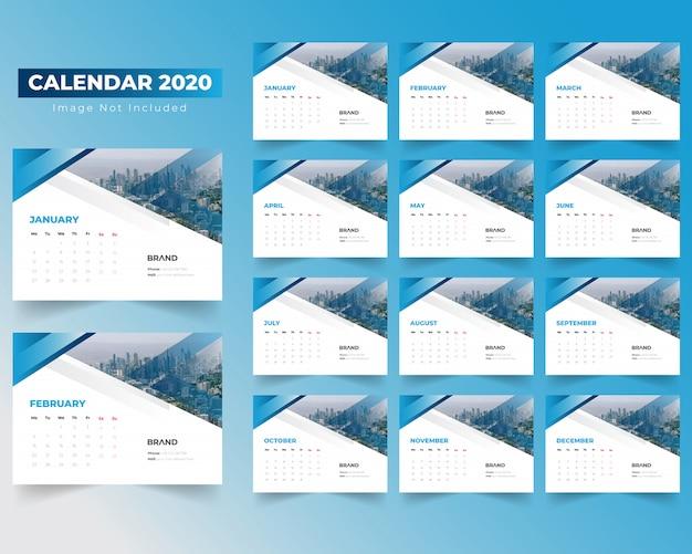 Creative calendar 2020 with gradiant