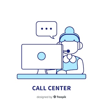 Creative call center background in lineal design