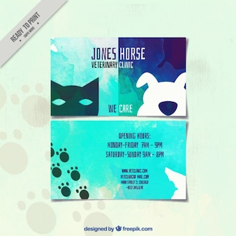 Creative card of watercolor veterinary clinic