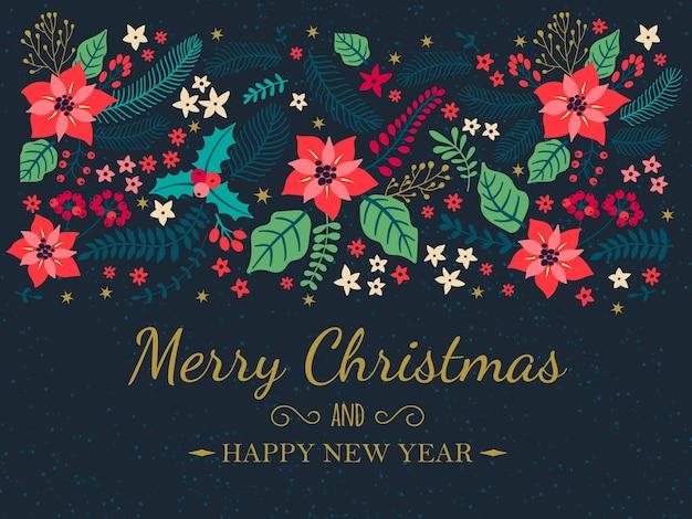 Творческие карты. рождественские плакаты. открытка с зимними растениями на синем фоне. современные надписи «с рождеством и новым годом». праздничный фон. иллюстрация.