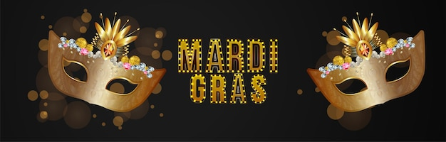 Creative carnival black background with golden mask
