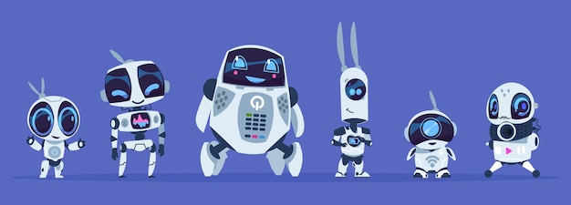 Creative cartoon characters of futuristic robots