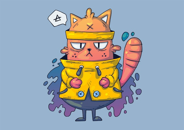 創造的な漫画イラスト。黄色いセーターを着た面白い猫。