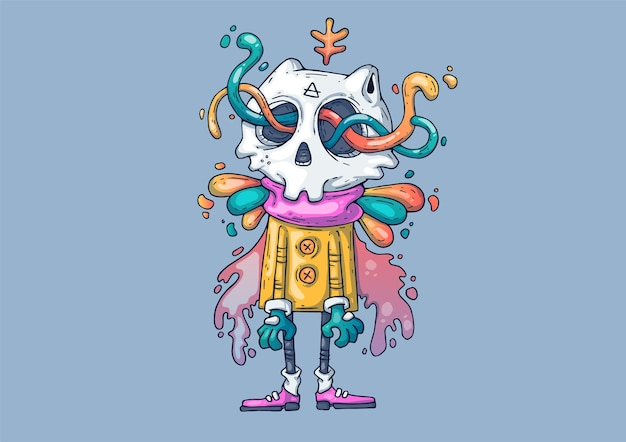 Creative cartoon illustration. funny monster with a skull.