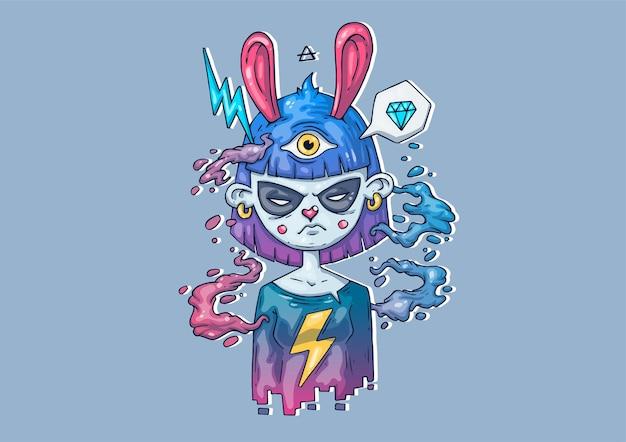 Творческие иллюстрации шаржа. девушка-заяц. стильная иллюстрация для печати.
