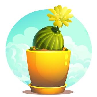 雲の下の植木鉢のサボテンの創造的な漫画イラストイラスト