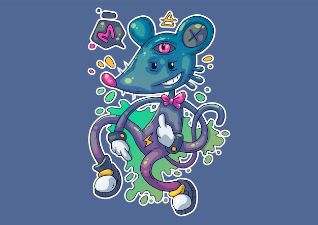 Creative cartoon illustration. strange mouse in a funny pose.