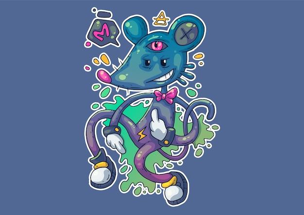 Творческие иллюстрации шаржа. странная мышка в забавной позе.