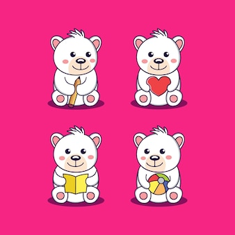 Creative cartoon little bear animal mascot character logo vector design graphic illustration