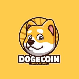 Creative cartoon shiba inu dogecoin doge cartoon logo