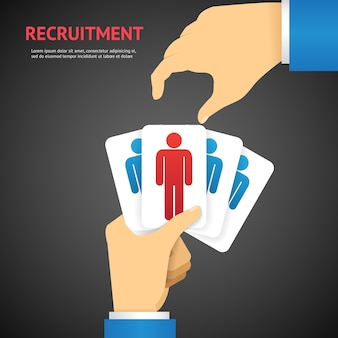Creative cartooned recruitment cards hold by hand concept on dark gray background.
