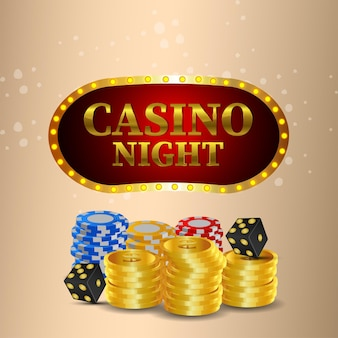 Creative casino background with gold coin and casino chips