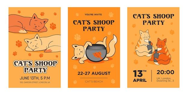 クリエイティブな猫のパーティの招待状のテンプレートセット。楽器を使った現代の器楽コンサートの招待状。