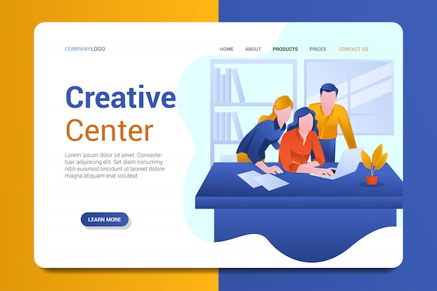 Creative center landing page background vector template