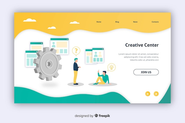 Creative center marketing landing page