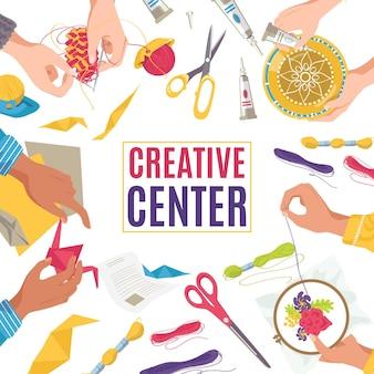 アートクラフト作品のあるクリエイティブセンター、鉛筆のバナーで描く子供たち