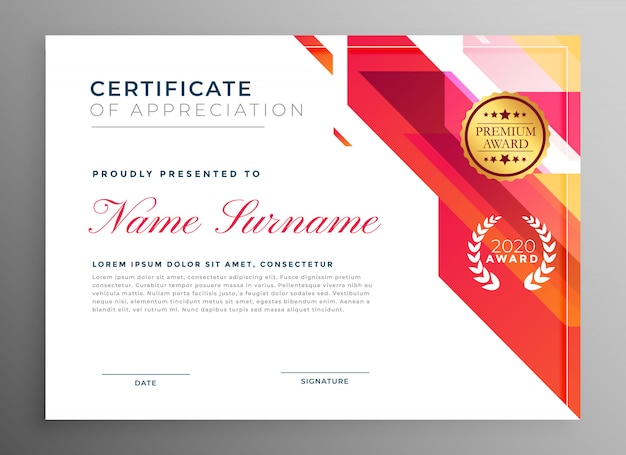 Creative certificate of appreciation in abstract style