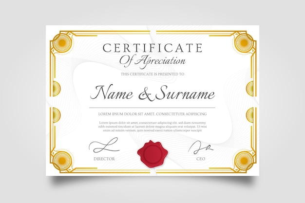 Creative certificate of appreciation award golden frame