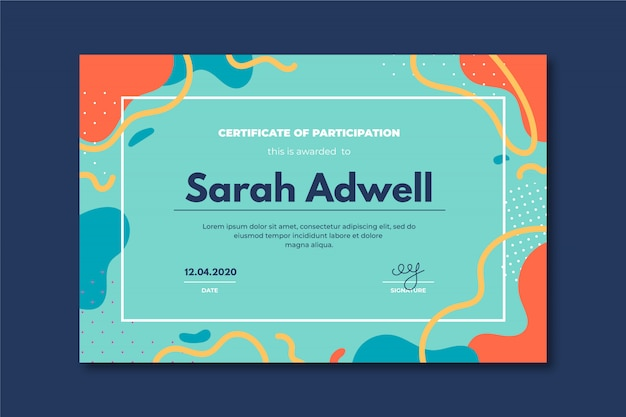 Creative certificate template with abstract colorfull shapes.