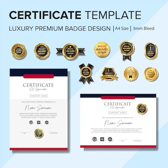 Creative certificate template with badge set