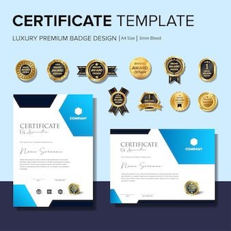 Creative certificate template with badge template