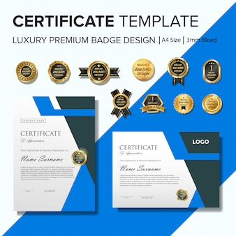 Creative certificate template with blue geometric shapes