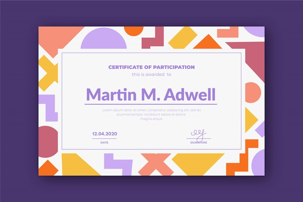 Creative certificate template with colorful geometry shapes.