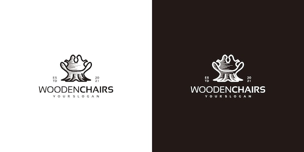 Creative chair logo with logs, wood craftsman logo and more