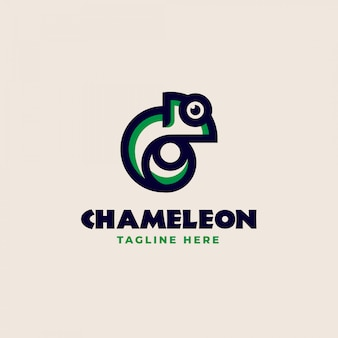 Creative chameleon monoline logo template. vector illustration