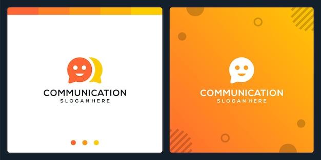 Творческий чат значок и символы улыбка логотип. премиум вектор.