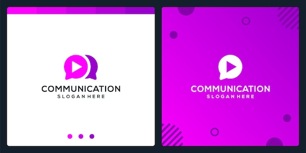 Creative chat icon and play video logo. premium vector.
