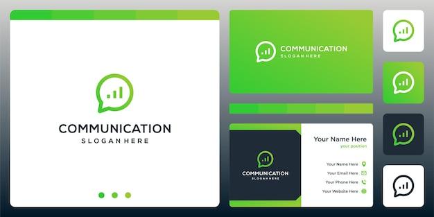 크리에이티브 채팅 로고 및 투자 차트 로고. 명함 디자인입니다.