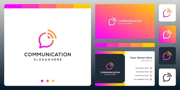 Creative chat logo and signal logo sign. business card design.