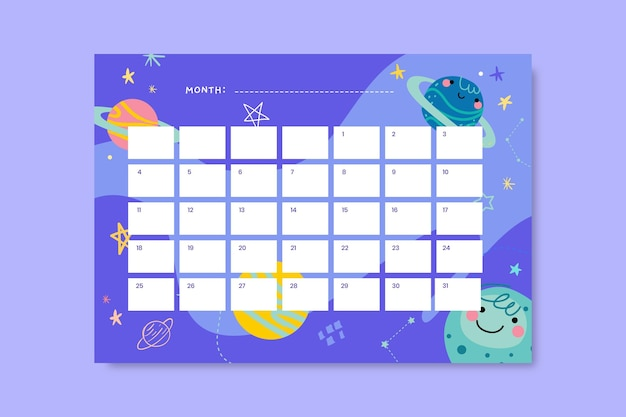 Creative child-like daily galaxy calendar Free Vector