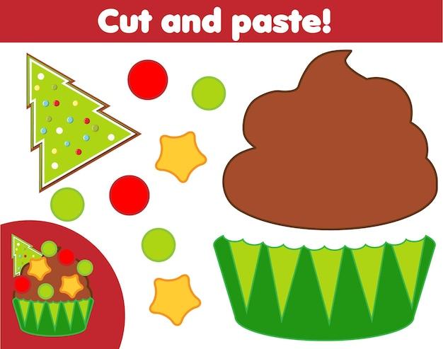 창의적인 어린이 교육 게임. 종이 자르기 활동. 풀과 가위로 새해, 크리스마스 컵케익 만들기