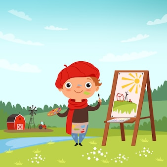 Creative childrens, little artist making pictures in the open air