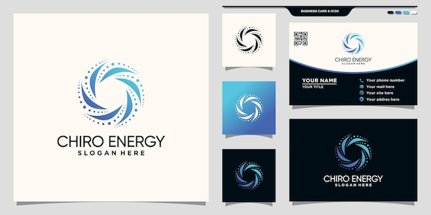 Creative chiro energy logo with unique concept and business card design premium vector