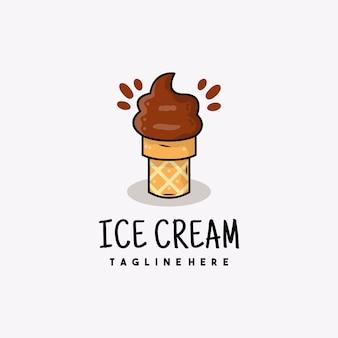 創造的なチョコレートアイスクリームアイコンのロゴイラスト