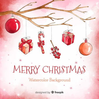 Creative christmas background in watercolor style