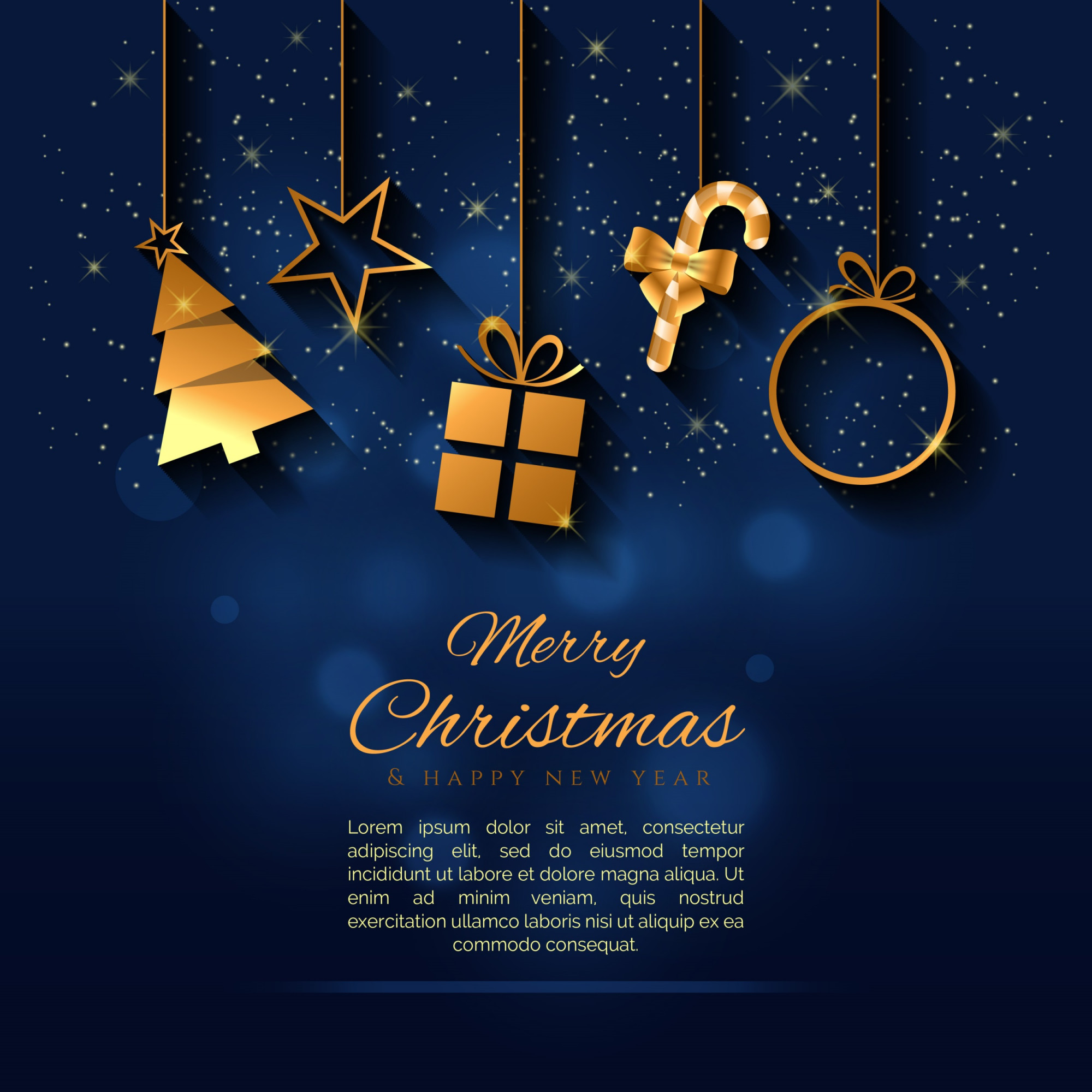 Creative Christmas background with a gold elements vector