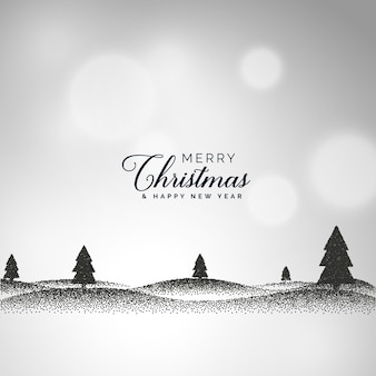Creative christmas background with landscape scene made with dots