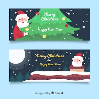 Creative christmas banners in flat design