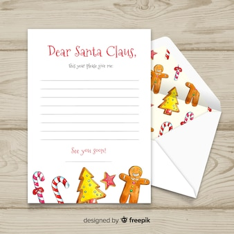 Creative christmas envelope and letter in watercolor design