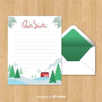 Творческое рождественское письмо и шаблон конверта
