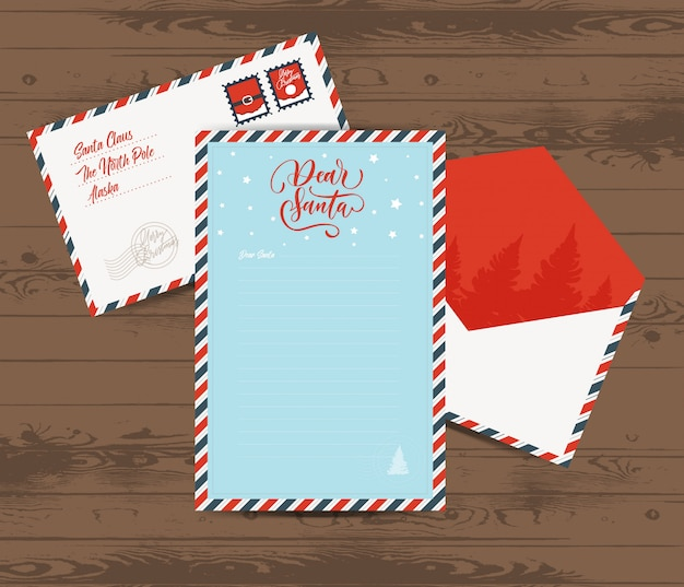 Creative christmas letter and envelope template