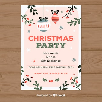 Creative christmas party poster template