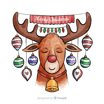 Creative christmas reindeer background in watercolor style
