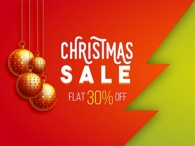 Creative christmas sale background with 30% discount.